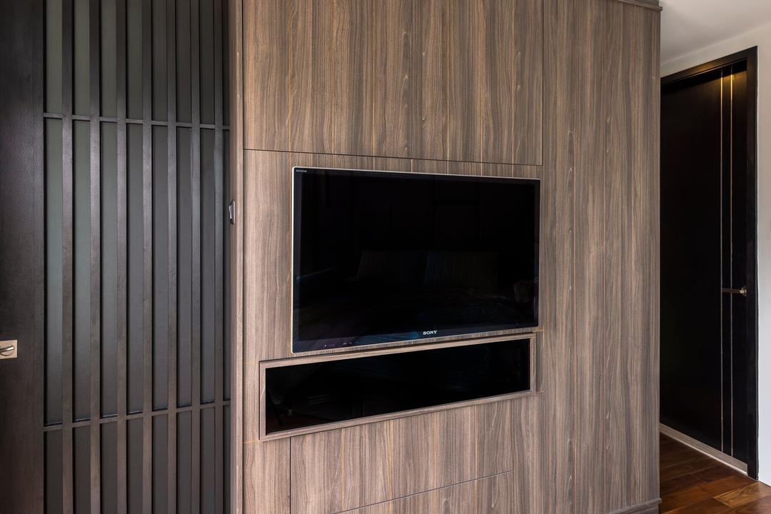 Hillview Avenue, Prozfile Design, Contemporary, Living Room, Condo, Wooden Flooring, Brown Flooring, Laminated Flooring, Wooden Partition Wall, Partition Wall, Flatscreen Tv, Wall Mounted Tv