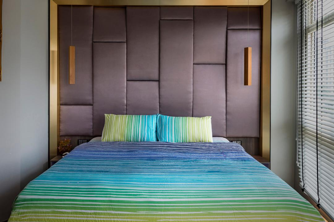 Hillview Avenue, Prozfile Design, Contemporary, Bedroom, Condo, Blinds, Cushioned Headboard, High Headboard, Colourful Bedsheet, Bed, Furniture