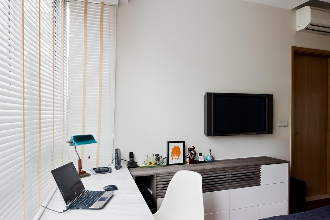 Clementi Woods, Prozfile Design, Contemporary, Study, Condo, Blinds, Venetian Blinds, Wooden Flooring, Study Desk, White Study Desk, White Study Chair, False Ceiling, Recessed Lighting, Wooden Floor, Computer, Electronics, Laptop, Pc