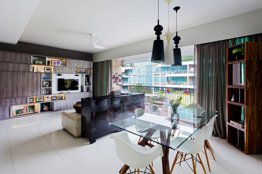 Clementi Woods, Prozfile Design, Contemporary, Living Room, Condo, Glass Dining Table, Full Length Window, Wooden Display Cabinet, Wooden Cabinet, Wooden Laminate, White Chair, Hanging Light, Pendant Light, Black Cabinet, Chair, Furniture, Indoors, Interior Design, Dining Table, Table