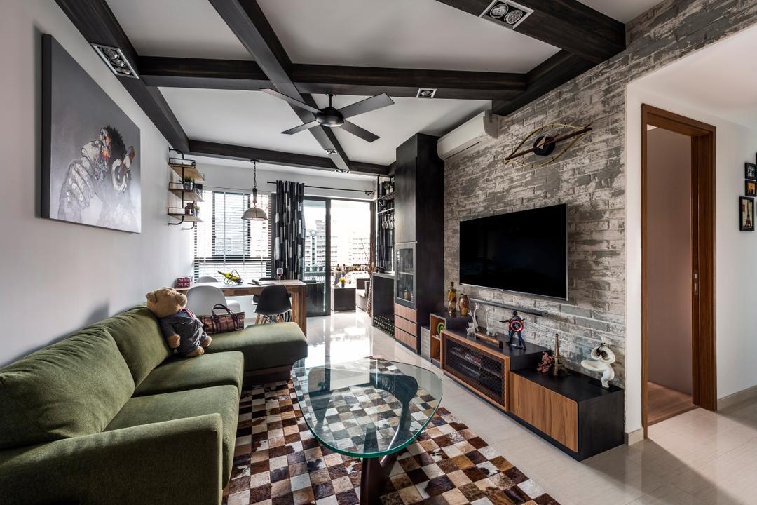 Belysa (Block 59), Prozfile Design, Industrial, Living Room, Condo, Green Sofa, Sofa, Square Tiles, Coffee Table, Wall Portrait, Black Ceiling Fan, Black Ceiling Beams, Ceiling Beams, Feature Wall, Flatscreen Tv, Tv Shelf, Tv Console, Fireplace, Hearth, HDB, Building, Housing, Indoors, Loft, Cobblestone, Path, Pavement, Sidewalk, Walkway