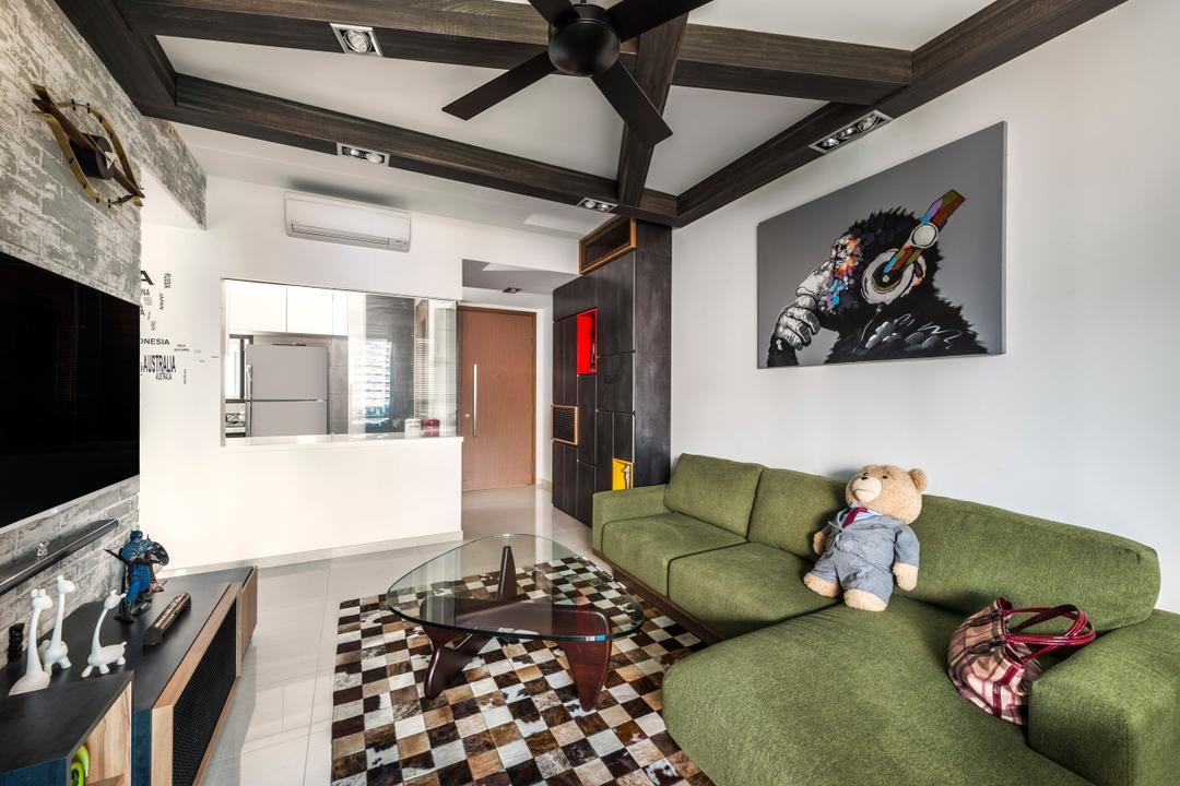 Belysa (Block 59), Prozfile Design, Industrial, Living Room, Condo, Green Sofa, Sofa, Wall Portrait, Ceiling Beams, Bear, Toy Plush, Square Tiles, Coffee Table, Black Ceiling Beams, Feature Wall, Flatscreen Tv, Wall Mount Tv, Tv Shelf, Tv Console, Couch, Furniture, Art, Modern Art