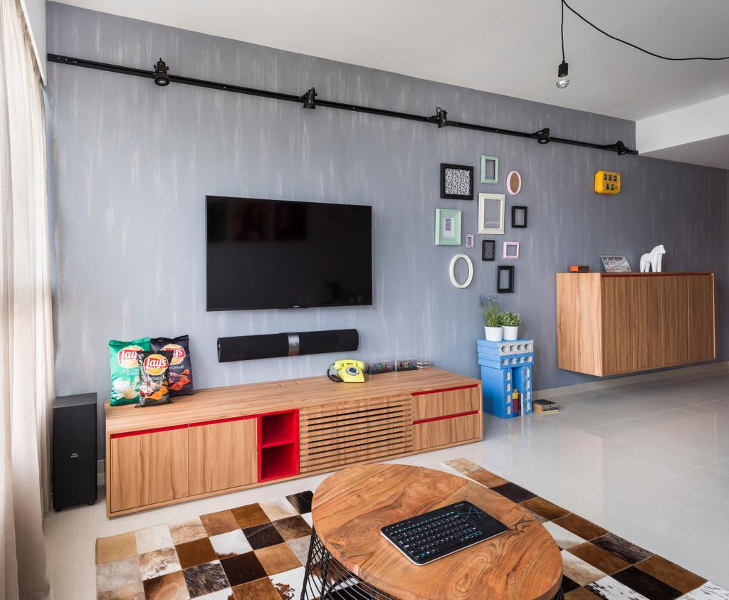 Industrial, Condo, Living Room, Belysa, Interior Designer, Prozfile Design, Hanging Lights, Wall Mounted Cabinet, Portraits, Track Lights, Square Patterned Rug, Coffee Table, Brown Coffee Table, Oval Coffee Table, Flatscreen Tv, Tv Shelf