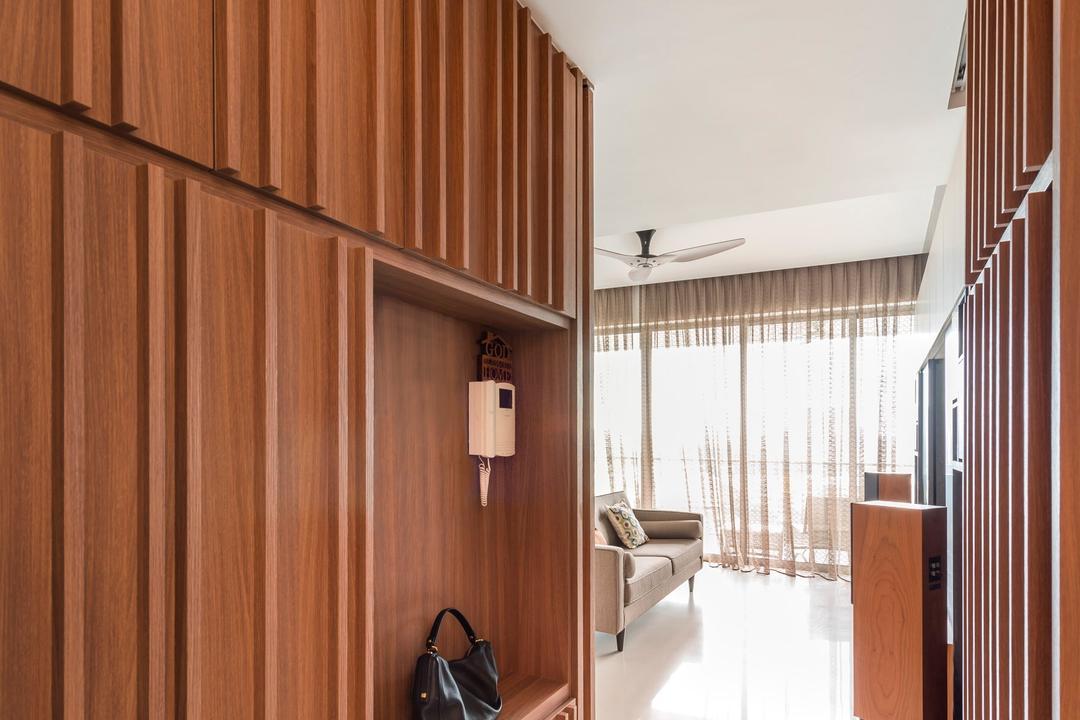 Quinterra, Prozfile Design, Contemporary, Condo, Wooden Cabinet, Cushion, Partition Wall, Wooden Partition, Corridor, Furniture