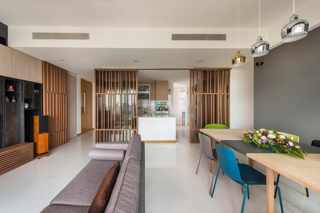Quinterra, Prozfile Design, Contemporary, Living Room, Condo, Feature Wall, False Ceiling, White Flooring, Sofa, Wooden Table, Blue Chair, Hanging Lights, Wooden Partition, Couch, Furniture, Indoors, Interior Design, Dining Table, Table, Flora, Jar, Plant, Potted Plant, Pottery, Vase