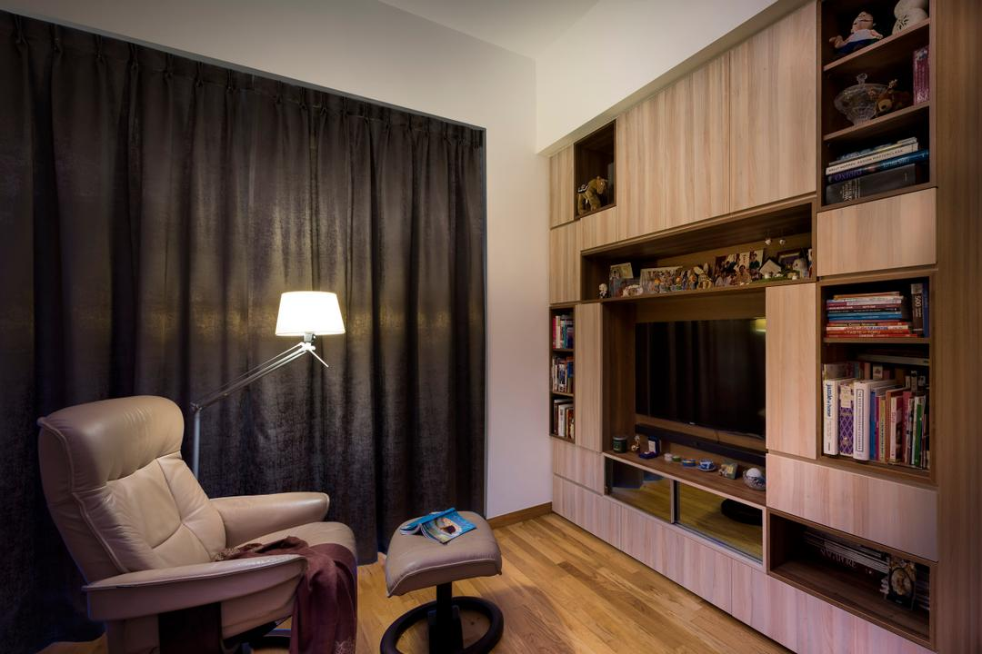 Quinterra, Prozfile Design, Contemporary, Condo, Curtains, Black Curtains, Wooden Flooring, Brown Flooring, Laminated Flooring, Floor Lamp, Cushion Seat, Armchair, Wooden Shelf, Open Shelf, Chair, Furniture, Bookcase, Electronics, Entertainment Center, Indoors, Room