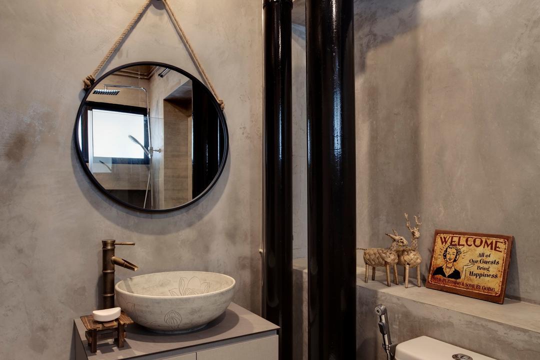Pasir Ris, Liid Studio, Industrial, Eclectic, Bathroom, HDB, Sink, Porthole, Window