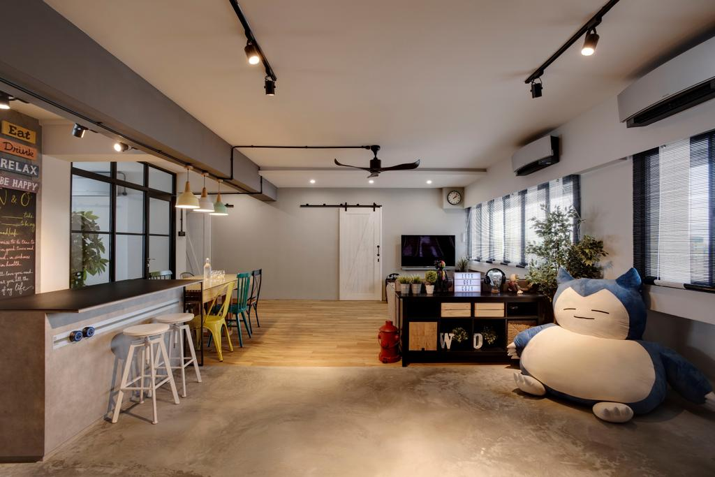 Industrial, HDB, Living Room, Pasir Ris, Interior Designer, Liid Studio, Eclectic, Flora, Jar, Plant, Potted Plant, Pottery, Vase, Dining Table, Furniture, Table, Bar Stool, Sideboard