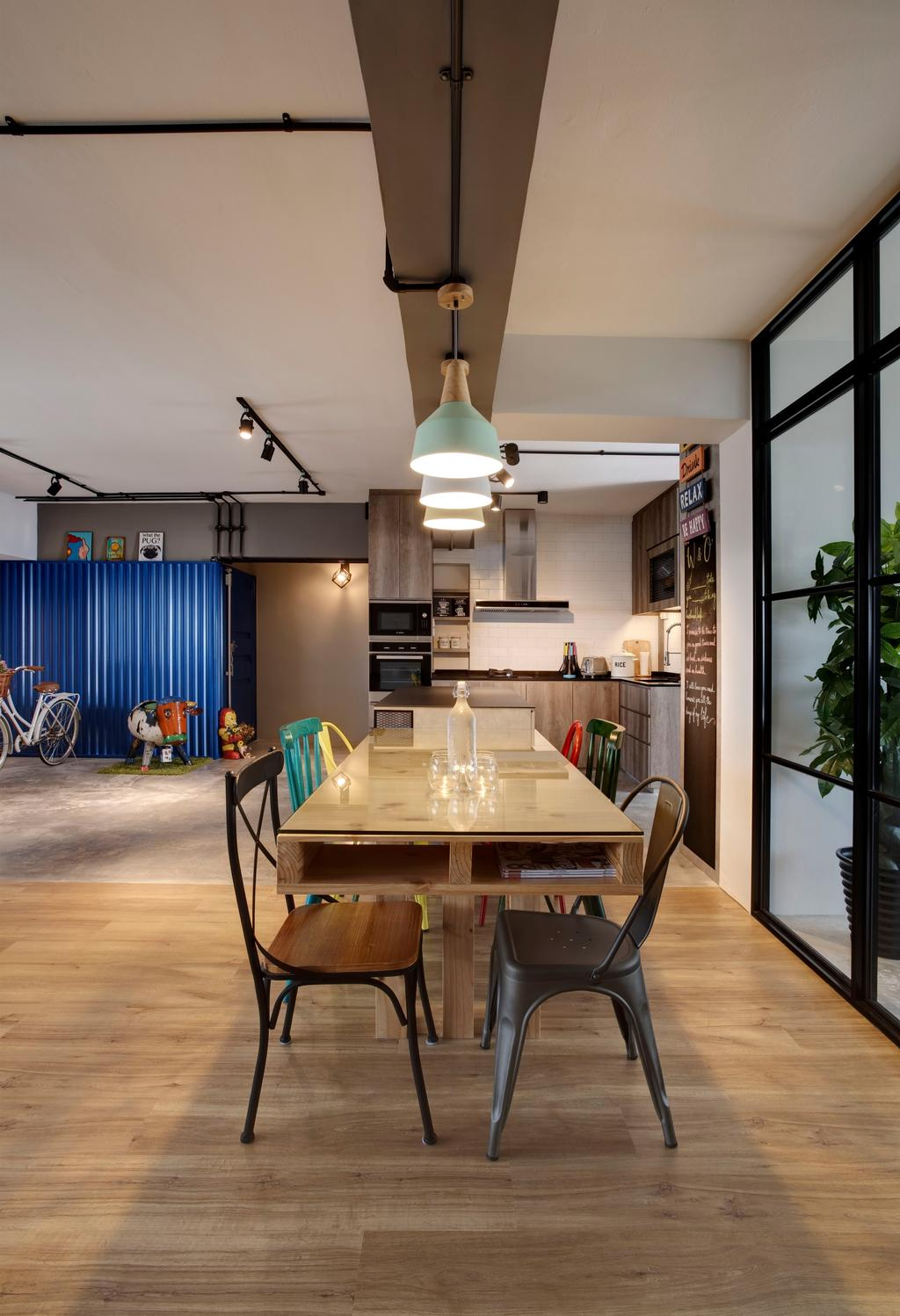 Industrial, HDB, Dining Room, Pasir Ris, Interior Designer, Liid Studio, Eclectic, Indoors, Interior Design, Room, Chair, Furniture, Dining Table, Table, Flora, Jar, Plant, Potted Plant, Pottery, Vase