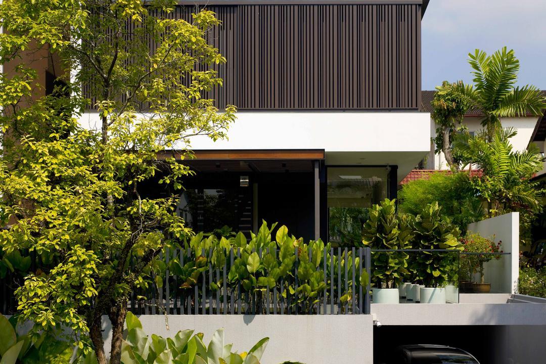 Lim House, TOPOS Design Studio, Modern, Landed, Trees, Plants, High Storey, Exterior View, White Walls, Flora, Jar, Plant, Potted Plant, Pottery, Vase, Herbs, Planter