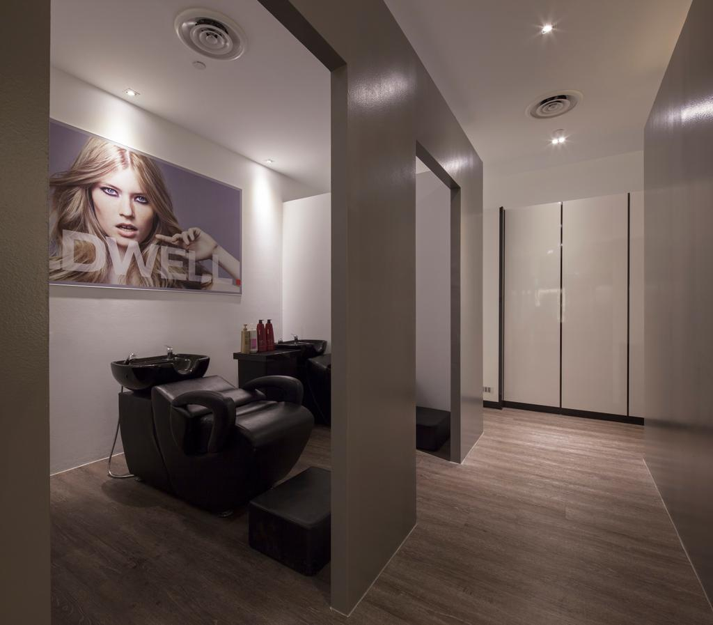 Pure Trim Hair Studio, Commercial, Interior Designer, De Style Interior, Contemporary, Couch, Furniture, Human, People, Person, Flooring