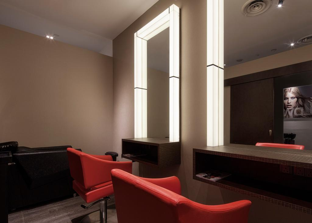 Pure Trim Hair Studio, Commercial, Interior Designer, De Style Interior, Contemporary, Couch, Furniture, Chair, Electronics, Entertainment Center, Home Theater