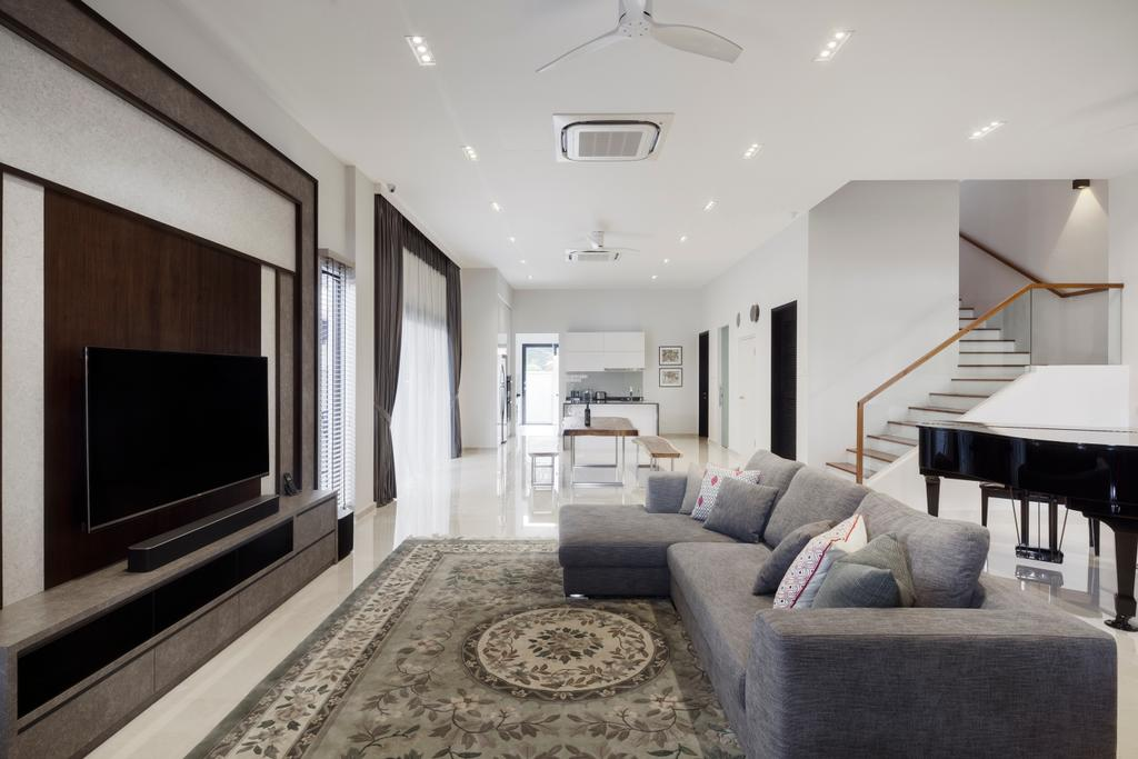 Contemporary, Landed, Living Room, Jalan Jambu Mawar, Interior Designer, De Style Interior, Couch, Furniture, HDB, Building, Housing, Indoors, Loft, Room