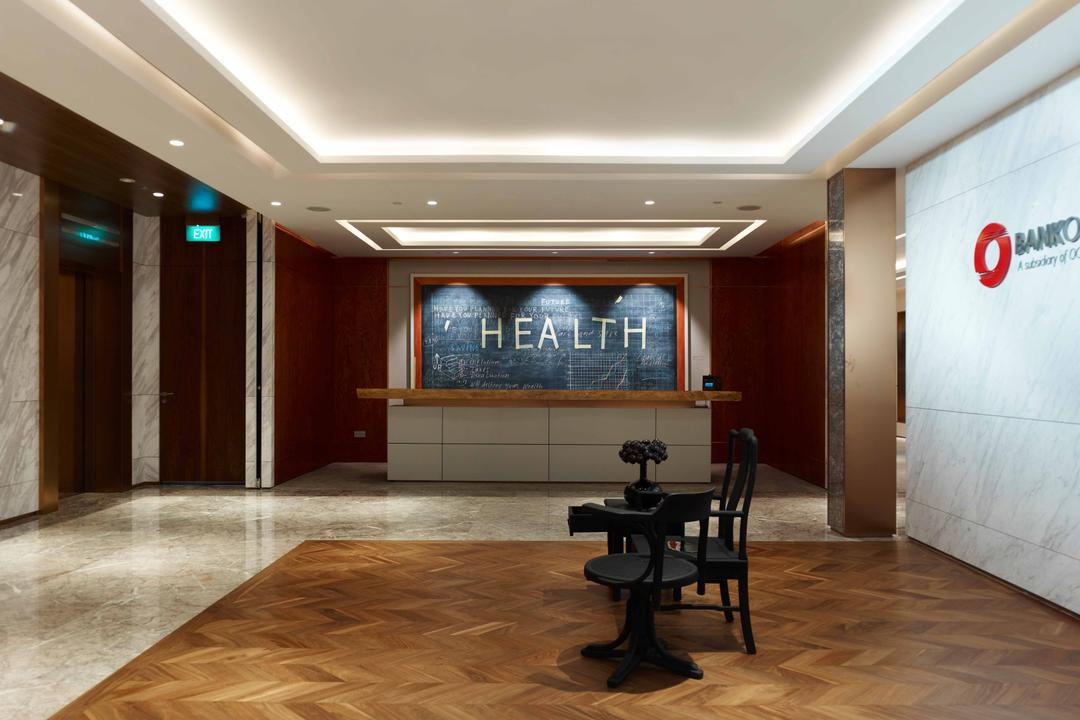 Bank of Singapore, TOPOS Design Studio, Modern, Commercial, Parquet Flooring, Brown Flooring, Wooden Flooring, Black Chair, Black Table, Signage, Concealed Lighting, False Ceiling, Recessed Lighting, Counter, Hardwood, Wood, Corridor