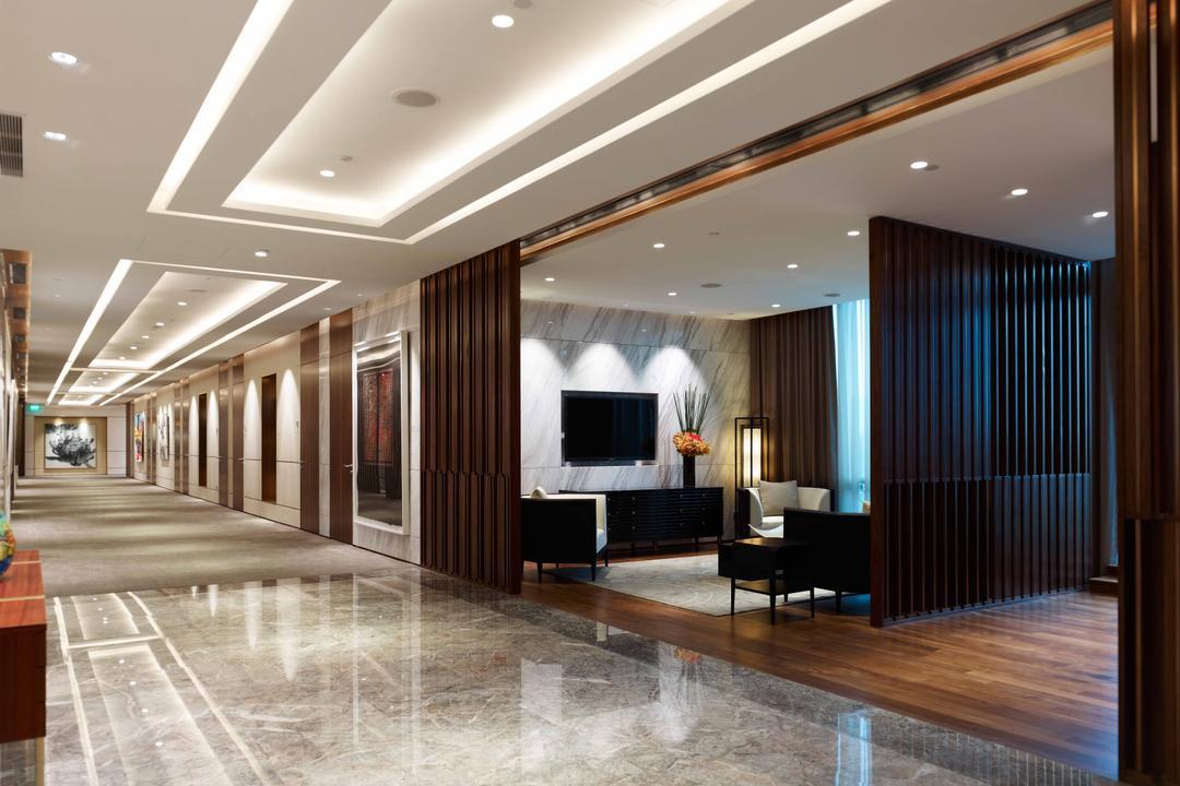 Bank of Singapore, TOPOS Design Studio, Modern, Commercial, False Ceiling, Recessed Lighting, Concealed Lighting, Marble Flooring, Wooden Flooring, Black Partition, Flooring