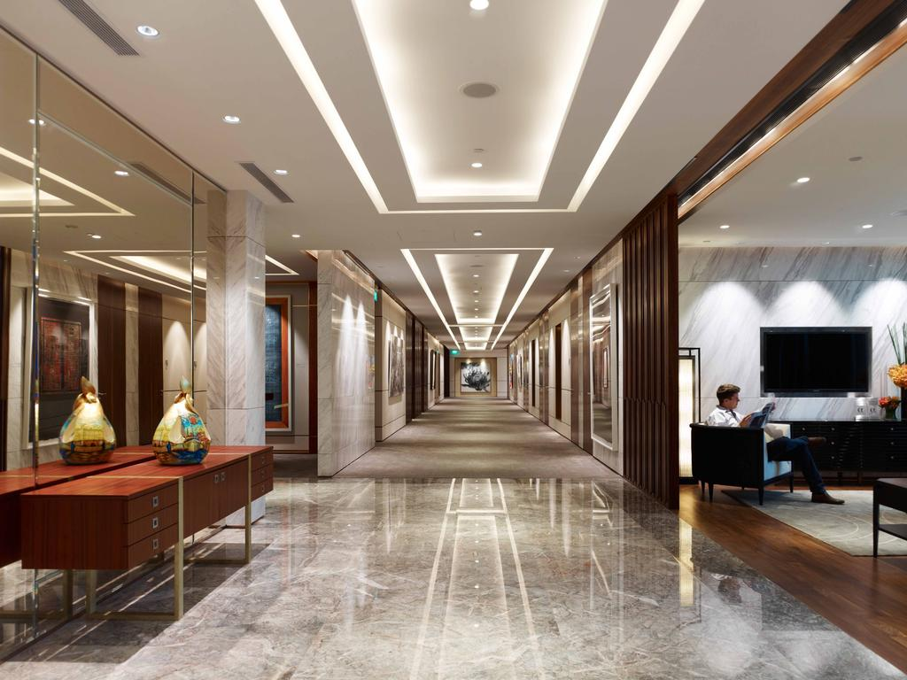 Bank of Singapore, Commercial, Architect, TOPOS Design Studio, Modern, Recessed Lighting, False Ceiling, Concealed Lighting, Concealed Lights, Marble Flooring, Mirror, Full Length Mirror, Reddish Brown Cabinets, Cabinets, Furniture, Sideboard, Indoors, Reception, Reception Room, Room, Waiting Room