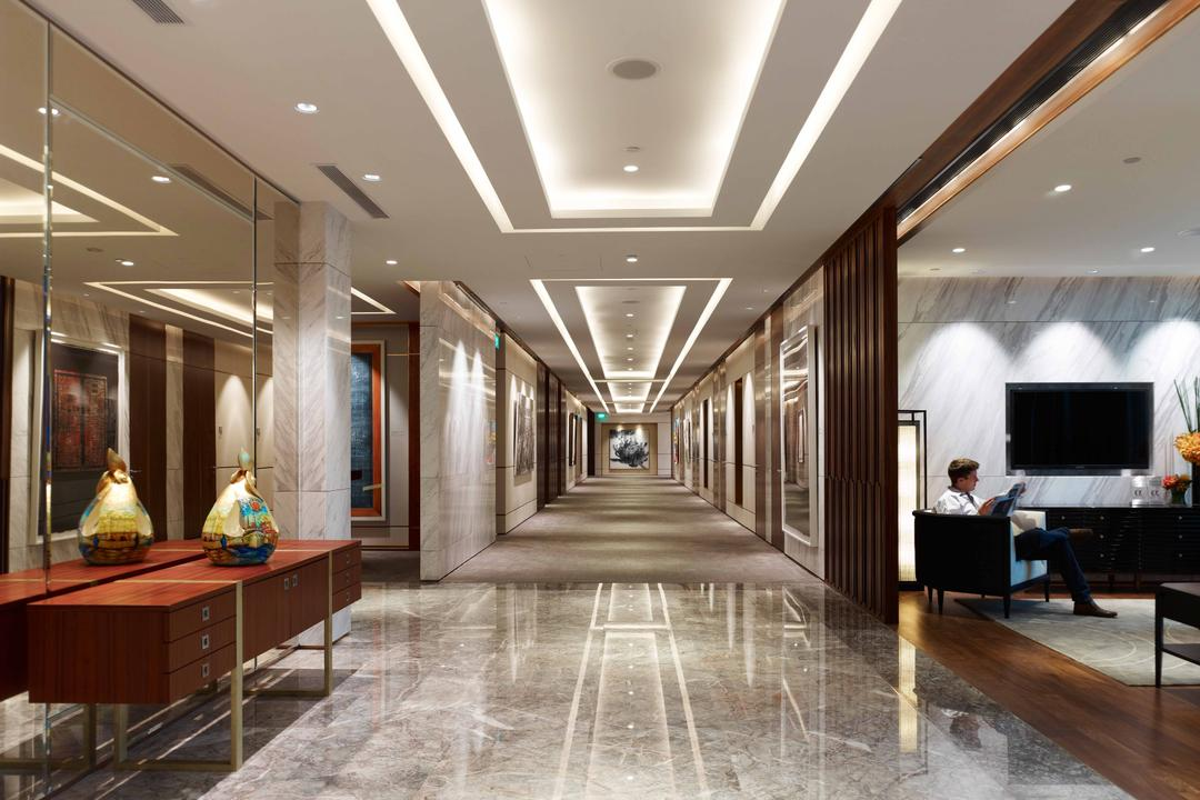 Bank of Singapore, TOPOS Design Studio, Modern, Commercial, Recessed Lighting, False Ceiling, Concealed Lighting, Concealed Lights, Marble Flooring, Mirror, Full Length Mirror, Reddish Brown Cabinets, Cabinets, Furniture, Sideboard, Indoors, Reception, Reception Room, Room, Waiting Room