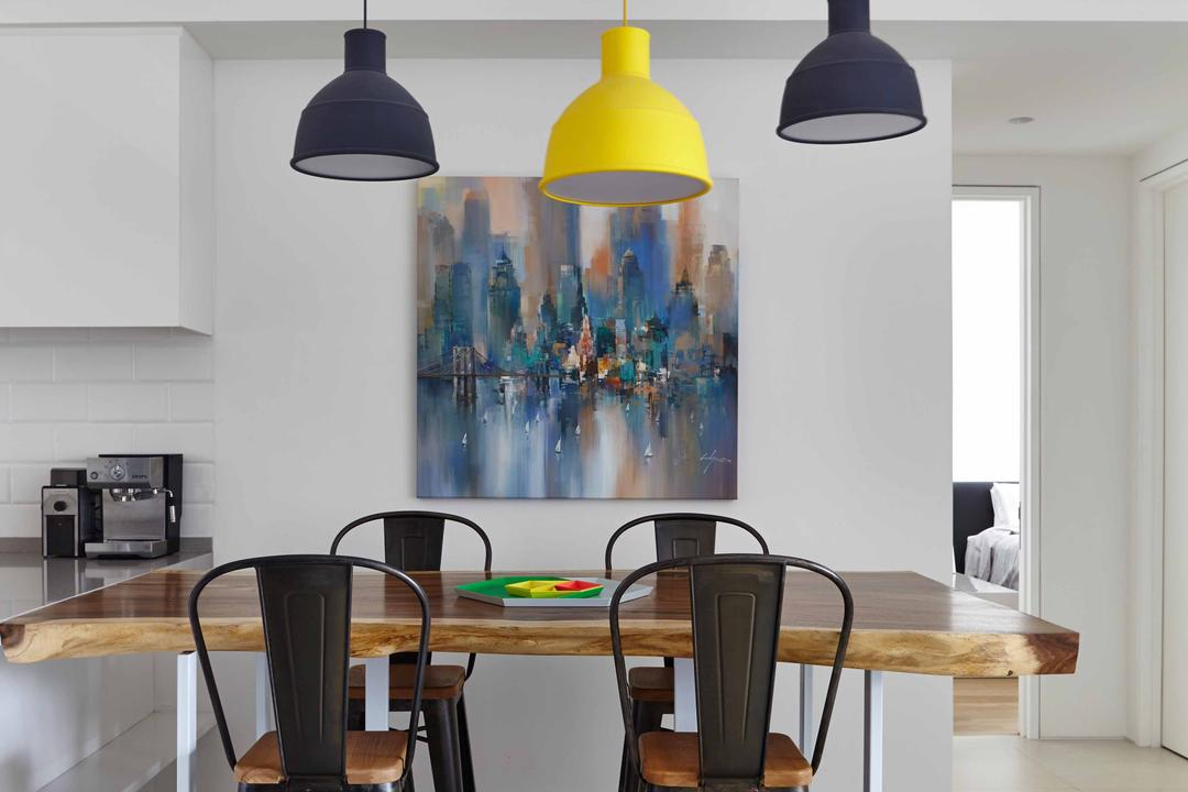 Costa Rhu, TOPOS Design Studio, Contemporary, Dining Room, Condo, Light Wood Flooring, Light Wood, Colourful Hanging Lights, Colorful Hanging Lights, Wallart, Wall Portraits, Dining Chair, Dining Table, Wooden Table, White Walls, White Ceiling, Light Fixture, Indoors, Interior Design, Room, Furniture, Table, Chair