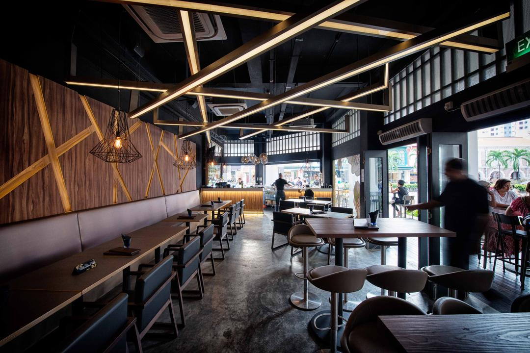The Shaven Cat, TOPOS Design Studio, Industrial, Commercial, Wooden Wall, Dining Table, Dining Chair, Pendant Lighting, Pendant Lights, Wooden Ceiling Beams, Ceiling Beams, High Chairs, Human, People, Person, Chair, Furniture, Cafe, Restaurant, Table, Bench