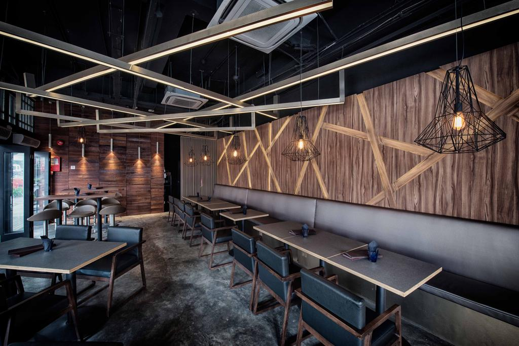 The Shaven Cat, Commercial, Architect, TOPOS Design Studio, Industrial, Wooden Ceiling Beams, Ceiling Beams, Concrete Floor, Industrial Floor, Industrial Lighting, Industrial Lights, Pendant Lighting, Dining Table, Dining Chairs, Dining Bench, Wooden Wall, Furniture, Table, Bench, Chair