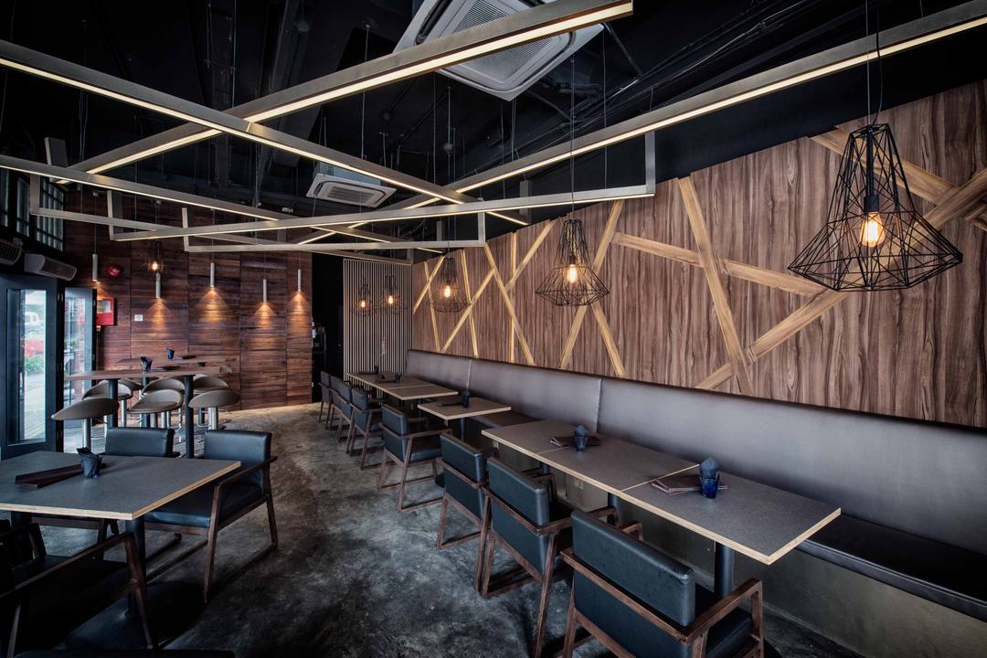 The Shaven Cat, TOPOS Design Studio, Industrial, Commercial, Wooden Ceiling Beams, Ceiling Beams, Concrete Floor, Industrial Floor, Industrial Lighting, Industrial Lights, Pendant Lighting, Dining Table, Dining Chairs, Dining Bench, Wooden Wall, Furniture, Table, Bench, Chair