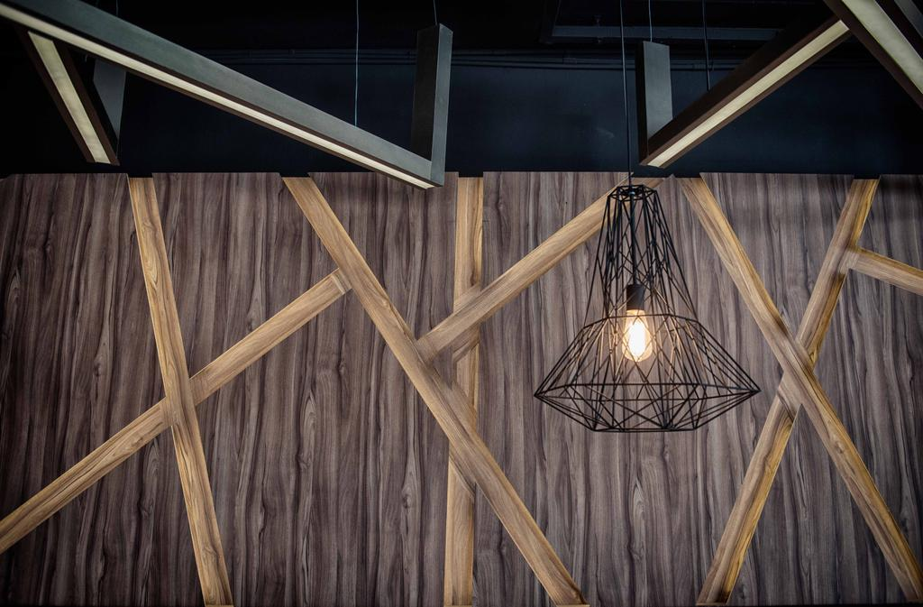 The Shaven Cat, Commercial, Architect, TOPOS Design Studio, Industrial, Pendant Lighting, Pendant Lights, Wooden Walls, Triangle