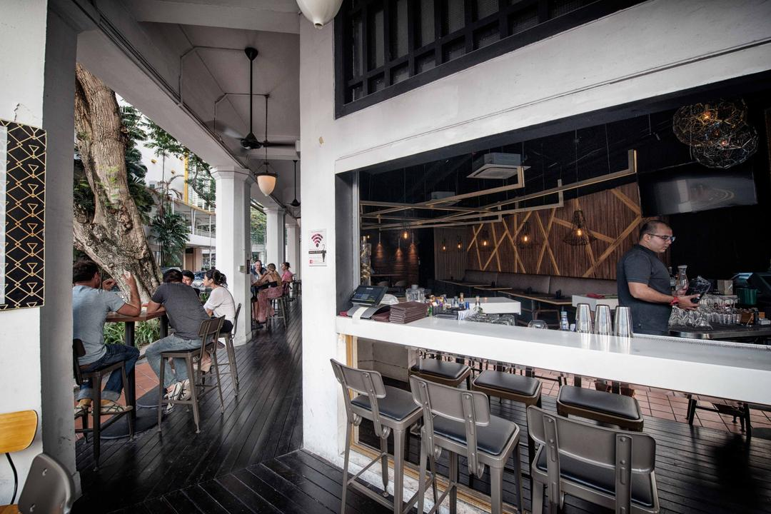 The Shaven Cat, TOPOS Design Studio, Industrial, Commercial, Exterior View, Bar Counter, White Bar Counter, High Chairs, Human, People, Person, Chair, Furniture, Cafe, Restaurant, Dining Table, Table, Pub