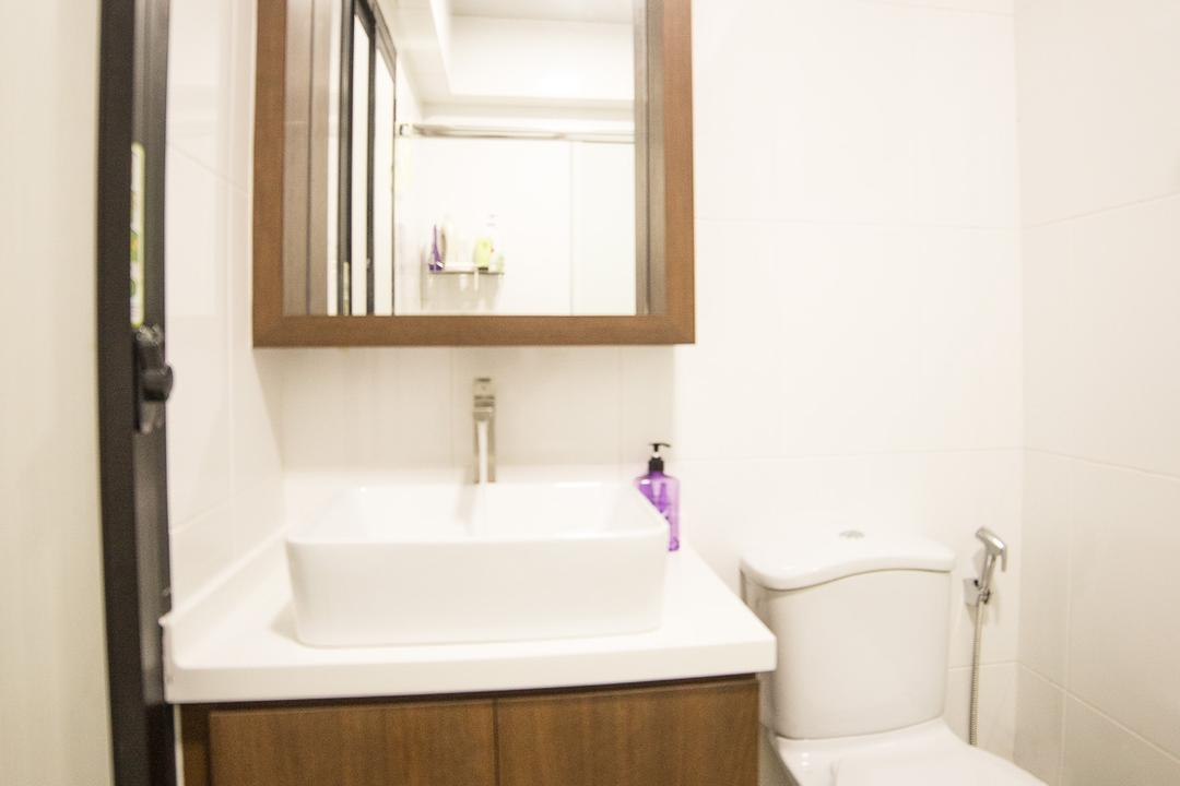 Compassvale Crescent, MET Interior, Scandinavian, Bathroom, HDB, Modern Contemporary Bathroom, Wooden Bathroom Cabinet, White Laminated Top, White Wall, Toilet, Indoors, Interior Design, Room