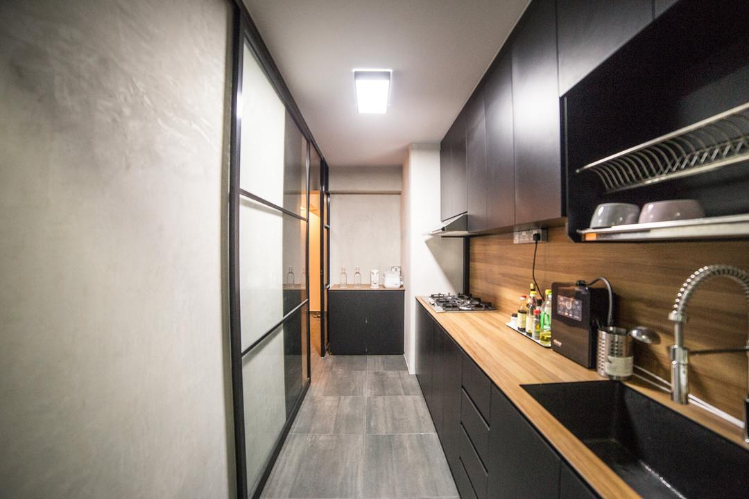 Compassvale Crescent, MET Interior, Scandinavian, Kitchen, HDB, Modern Contemporary Kitchen, Wooden Floor, Black Kitchen Cabinet, Black Kitchen Cupboard, Wooden Laminated Top, Ceiling Lights, Sink, Amplifier, Electronics, Building, Housing, Indoors