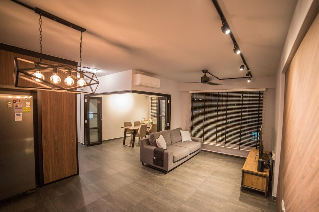 Compassvale Crescent, MET Interior, Scandinavian, Living Room, HDB, Modern Contemporary Living Room, Track Lights, Wooden Floor, Wall Mounted Television, Wooden Television Console, Roll Down Curtain, Spacious, Ceiling Fan, Indoors, Interior Design