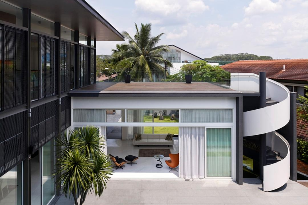 Sunset House, TOPOS Design Studio, Contemporary, Landed, Spiral Stairs, Foyer, Porch, Building, House, Housing, Villa, Balcony