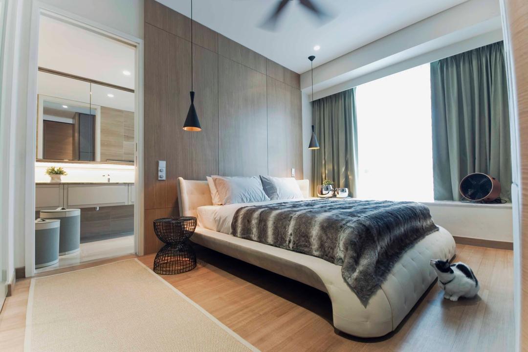Trillium, TOPOS Design Studio, Modern, Bedroom, Condo, Wooden Laminate, Laminated Flooring, Curtains, Baywindow Seats, Hanging Lights, Wooden Flooring