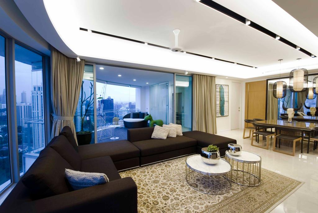 Modern, Condo, Living Room, Trillium, Architect, TOPOS Design Studio, Recessed Lighting, Rug, Coffee Table, Round Coffee Table, Black Sofa, Sofa, L Shaped Sofa, Curtains, White Ceiling, Couch, Furniture, Dining Table, Table, Indoors, Interior Design, Room