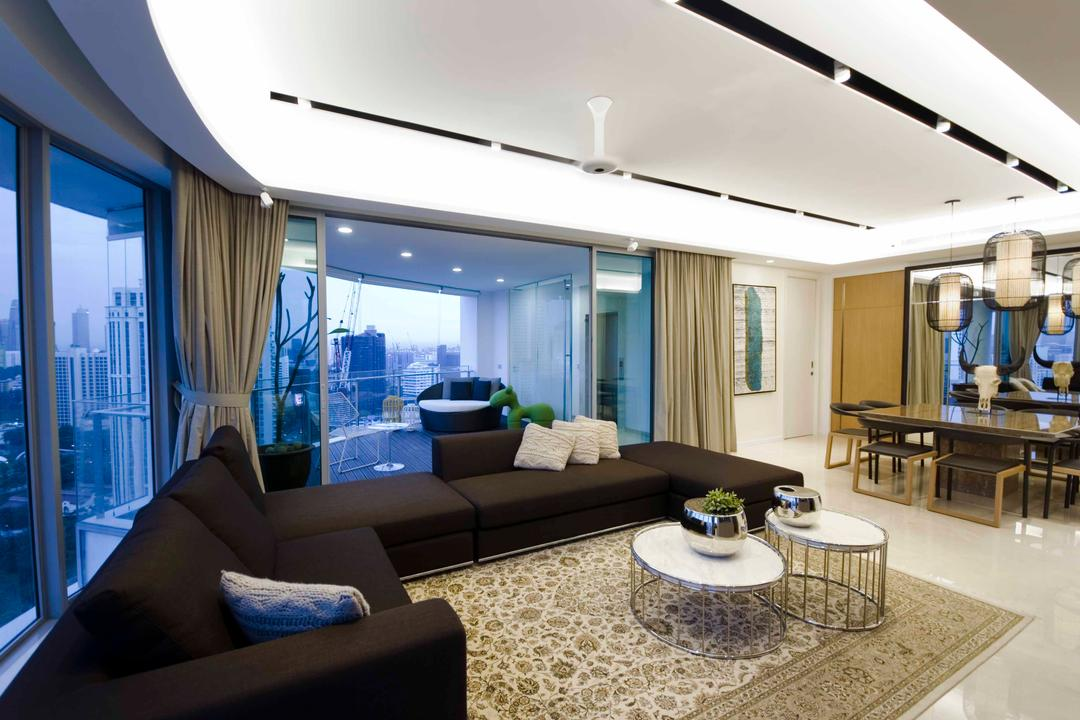Trillium, TOPOS Design Studio, Modern, Living Room, Condo, Recessed Lighting, Rug, Coffee Table, Round Coffee Table, Black Sofa, Sofa, L Shaped Sofa, Curtains, White Ceiling, Couch, Furniture, Dining Table, Table, Indoors, Interior Design, Room