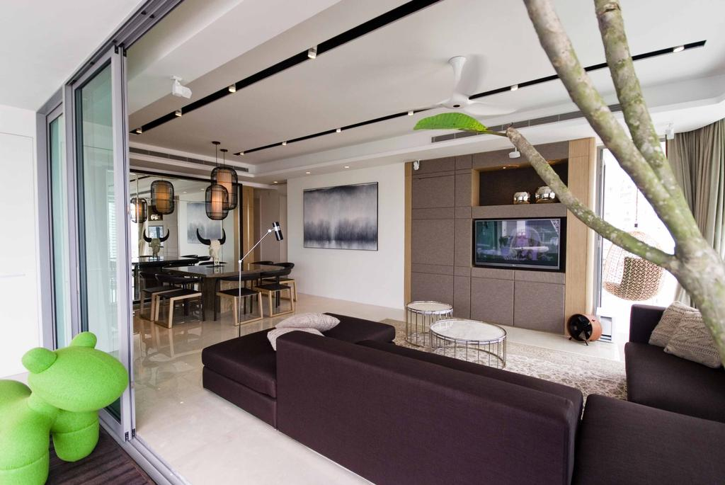 Modern, Condo, Living Room, Trillium, Architect, TOPOS Design Studio, Plants, Sofa, L Shaped Sofa, Sliding Doors, Dining Table, Dining Chairs, Coffee Table, Round Coffee Table, Couch, Furniture, Bamboo, Bamboo Shoot, Flora, Food, Plant, Produce, Vegetable, Toy