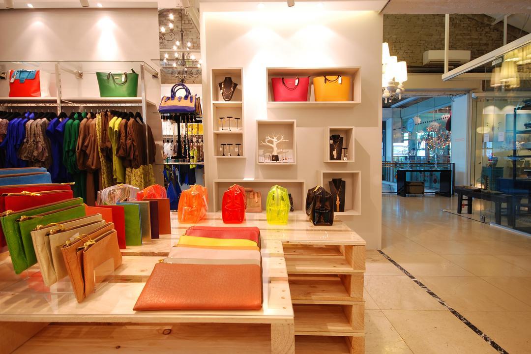 Twenty Twenty 9, TOPOS Design Studio, Scandinavian, Commercial, Wooden Crates, Wall Shelf, Wall Mounted Shelf, Ceiling Lighting, Clothing Rack, Luggage, Suitcase