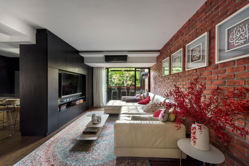 Eclectic, HDB, Living Room, Pasir Ris, Interior Designer, akiHAUS, Maisonette, Indoors, Interior Design, Couch, Furniture