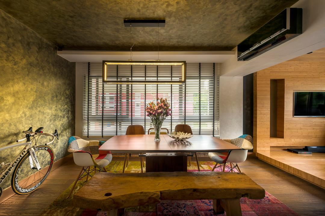Pasir Ris, akiHAUS, Eclectic, Dining Room, HDB, Bicycle, Bike, Transportation, Vehicle, Dining Table, Furniture, Table, Indoors, Interior Design, Room, Prison, Building, Housing, Loft, Chair
