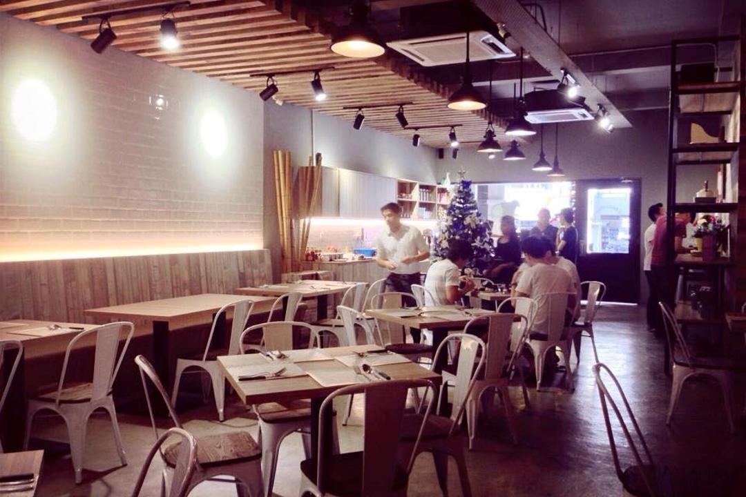 3 Bags Full Cafe @ Kota Damansara, MLA Design, Industrial, Commercial, Cafe, Wooden Beams, Exposed Ceiling, Dining Table, Dining Chairs, Metal Dining Chairs, Wooden Panelling, Hanging Lamps, Pendant Lamps, Track Lights, Furniture, Table, Restaurant
