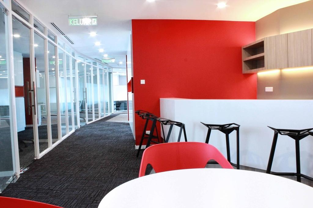 Circor Energy Office @ Maxis tower, Commercial, Interior Designer, MLA Design, Modern, White, Red, Office, Shelves, Cove Lighting, Countertop, Chairs, Stools, Glass Doors, Chair, Furniture