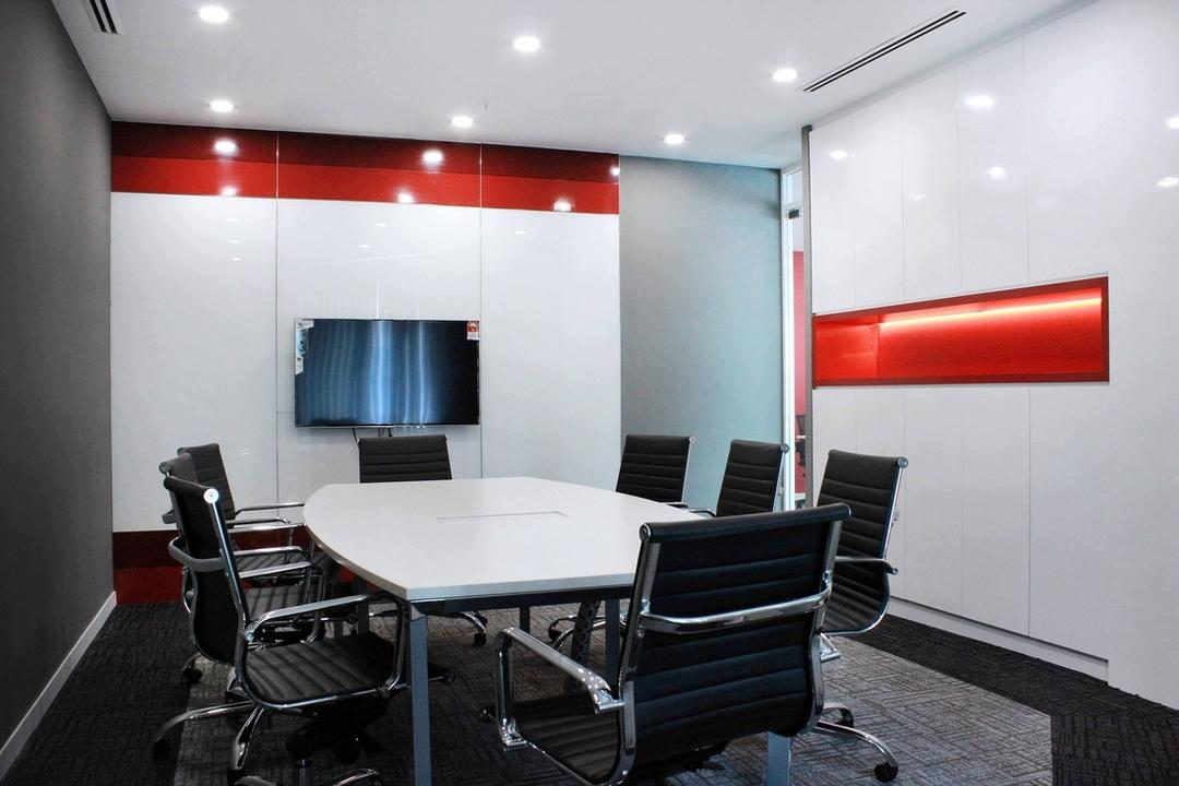 Circor Energy Office @ Maxis tower, MLA Design, Modern, Commercial, White, Red, Office, Recessed Lightings, Office Chairs, Computer Chairs, Chair, Furniture, Conference Room, Indoors, Meeting Room, Room