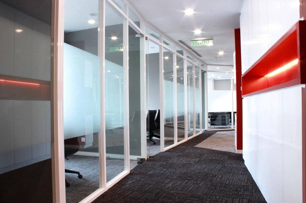 Circor Energy Office @ Maxis tower, Commercial, Interior Designer, MLA Design, Modern, Office, White, Red, Glass Doors, Recessed Lightings, Corridor