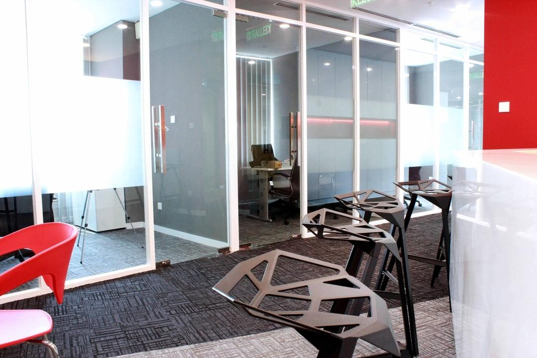 Circor Energy Office @ Maxis tower, MLA Design, Modern, Commercial, Office, White, Red, Stools, Chairs, Glass Doors, Chair, Furniture, Dining Table, Table