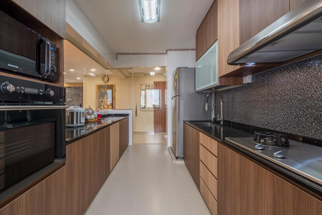 Choa Chu Kang (Block 812C), ID Gallery Interior, Traditional, Kitchen, HDB, Marble Contemporary Kitchen, Wooden Kichen Cupboard, Wooden Kitchen Cabinet, Black Laminated Top, Ceiling Lights, Built In Oven, Appliance, Electrical Device, Oven, Indoors, Interior Design, Room