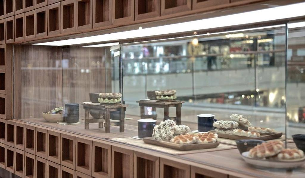 Madame Waffle @ IOI, Commercial, Interior Designer, MLA Design, Minimalistic, Cafe, Cafe Counter, Display Counter, Wood, Brown, Bench