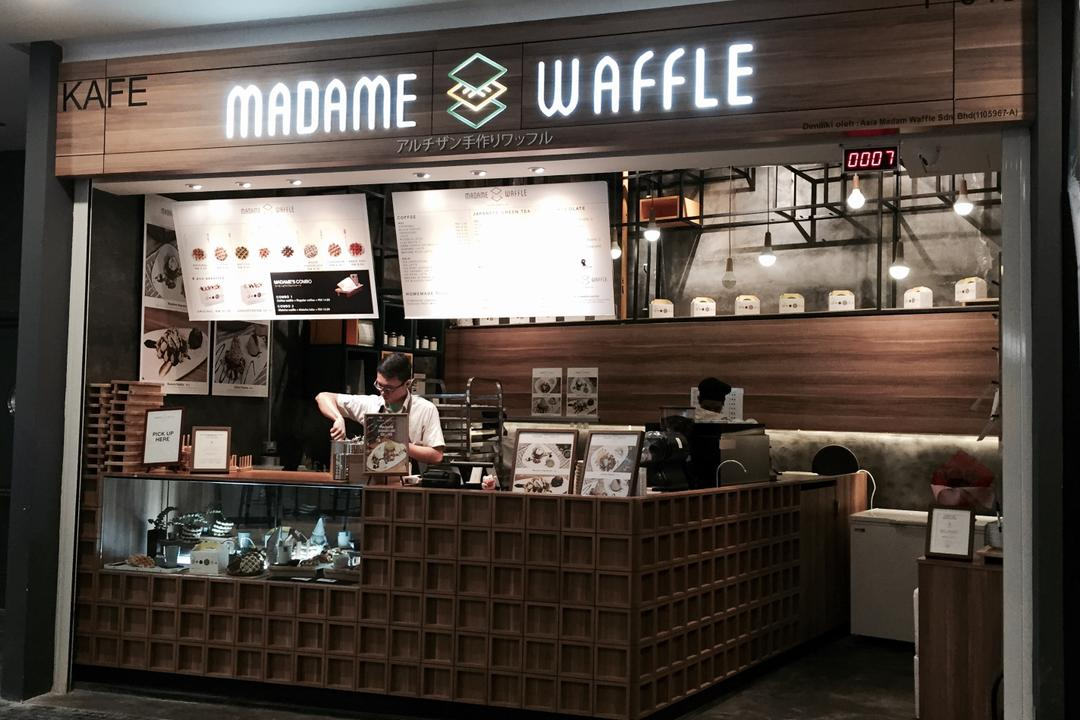 Madame Waffle @ Midvalley, MLA Design, Industrial, Commercial, Cafe, Countertop, Display Counter, Hanging Lamps, Pendant Lamps, Light Bulb Pendant Lamps, Wooden Panelling, Human, People, Person, Restaurant, Kiosk