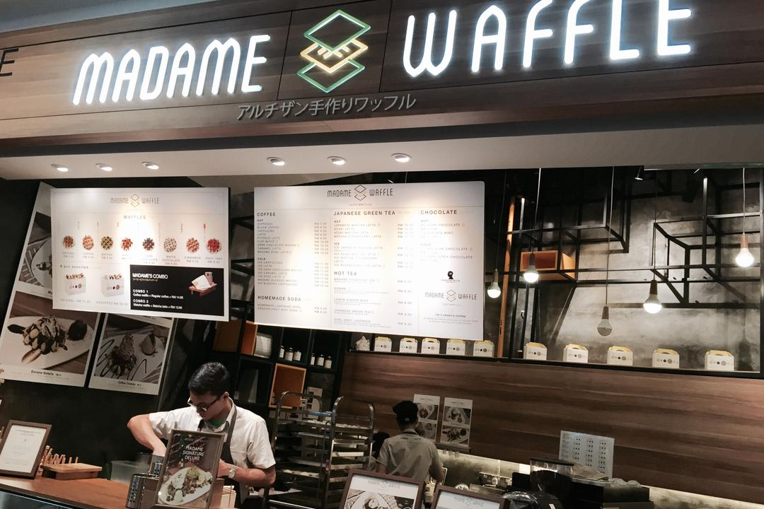 Madame Waffle @ Midvalley, MLA Design, Industrial, Commercial, Cafe, Countertop, Display Counter, Hanging Lamps, Pendant Lamps, Light Bulb Pendant Lamps, Wooden Panelling, Human, People, Person, Restaurant