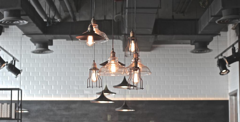 Renoma Cafe @ Ikon Connaught, Commercial, Interior Designer, MLA Design, Industrial, Hanging Lamps, Pendant Lamps, Exposed Ceiling, White Brick Walls, Brick Walls, Monochrome, Track Lights, Light Fixture