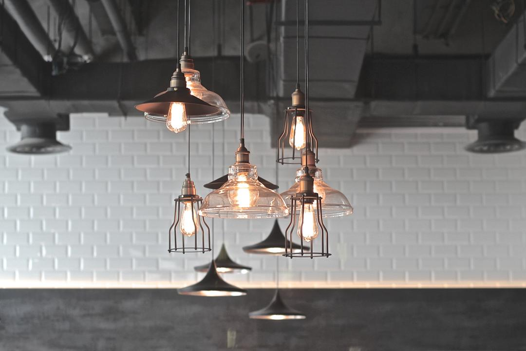 Renoma Cafe @ Ikon Connaught, MLA Design, Industrial, Commercial, Hanging Lamps, Pendant Lamps, Exposed Ceiling, White Brick Walls, Brick Walls, Monochrome, Track Lights, Light Fixture