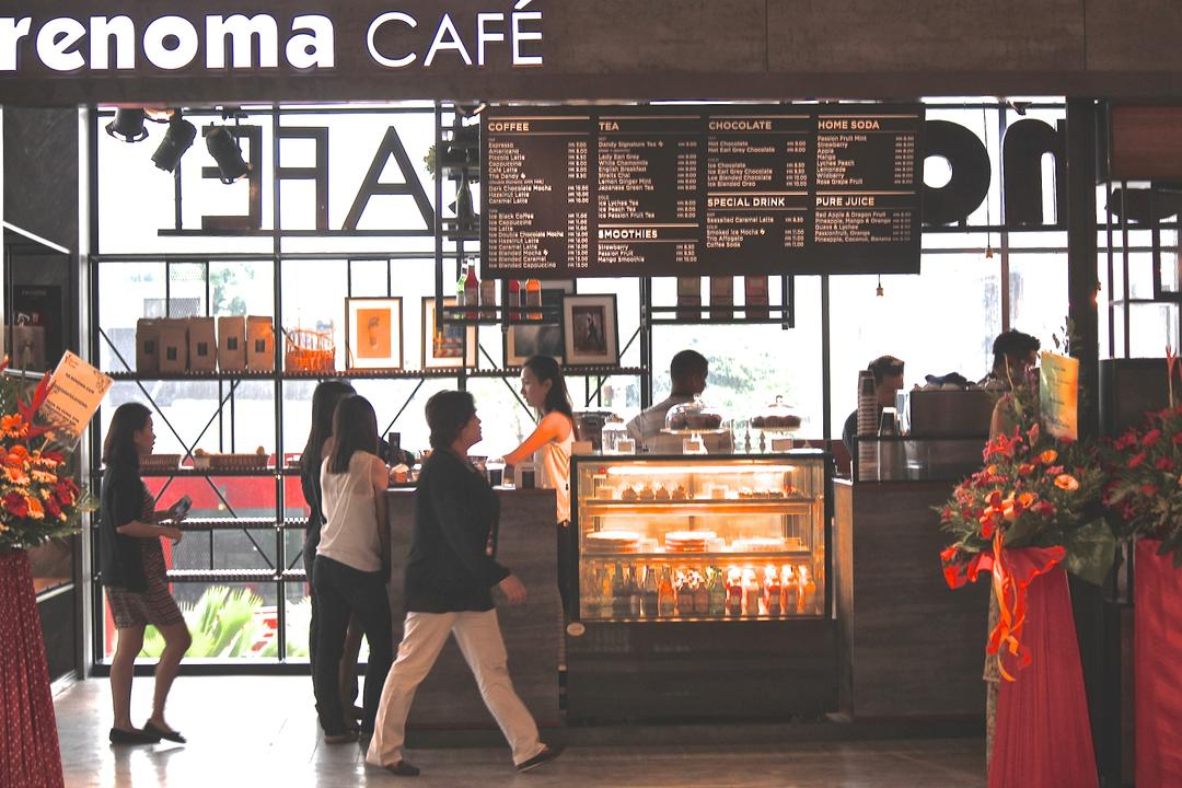 Renoma Cafe @ Ikon Connaught, MLA Design, Industrial, Commercial, Cafe, Counter, Countertop, Display Counter, Grey, Grey Tones, Track Lights, Metal Shelves, Human, People, Person